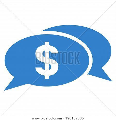Dollar Chat vector icon. Flat cobalt symbol. Pictogram is isolated on a white background. Designed for web and software interfaces.