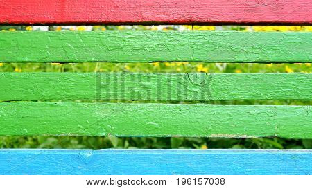 Board Colored In A Horizontal Arrangement. Red, Blue, Green, Gray.