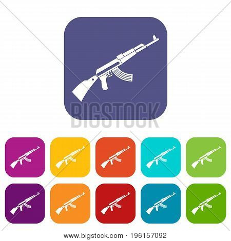 Kalashnikov machine icons set vector illustration in flat style in colors red, blue, green, and other