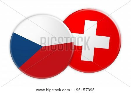 News Concept: Czech Republic Flag Button On Switzerland Flag Button 3d illustration on white background