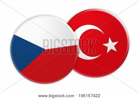 News Concept: Czech Republic Flag Button On Turkey Flag Button 3d illustration on white background