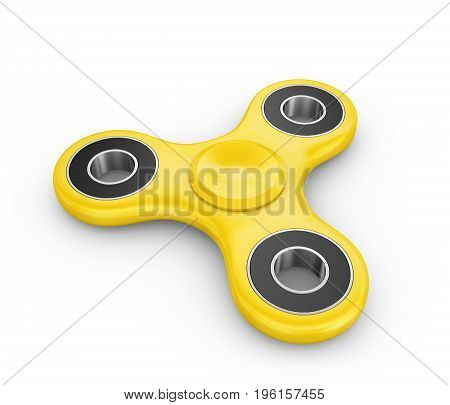 Spinner of yellow color on a white background. 3d rendering.