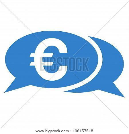 Euro Chat vector icon. Flat cobalt symbol. Pictogram is isolated on a white background. Designed for web and software interfaces.