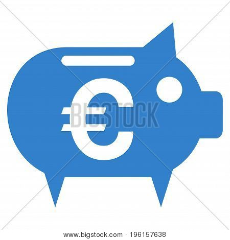 Euro Piggy Bank vector icon. Flat cobalt symbol. Pictogram is isolated on a white background. Designed for web and software interfaces.