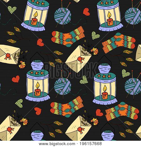Cartoon doodle illustration. Seamless autumn vector pattern with an autumn lamp, a letter in an envelope, a ball of threads and knitted socks.