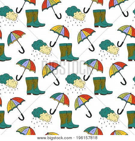 Cartoon doodle illustration. Seamless autumn vector pattern with umbrella and rubber boots.