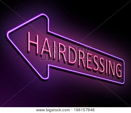 Hairdressing Neon Concept.