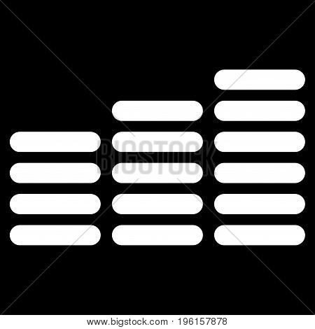 Coin Columns vector icon. Flat white symbol. Pictogram is isolated on a black background. Designed for web and software interfaces.