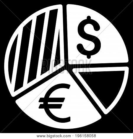 Currency Pie Chart vector icon. Flat white symbol. Pictogram is isolated on a black background. Designed for web and software interfaces.