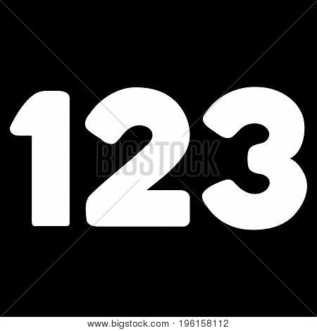 Digits vector icon. Flat white symbol. Pictogram is isolated on a black background. Designed for web and software interfaces.