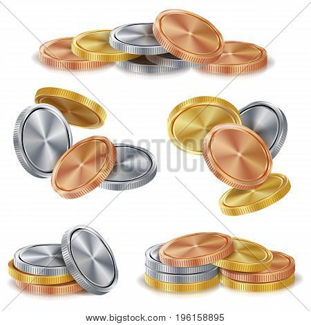 Gold, Silver, Bronze, Copper Coins Stacks Vector. Golden Finance Icons, Sign, Success Banking Cash Symbol. Realistic Isolated Illustration