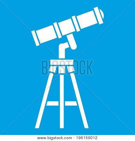 Telescope icon white isolated on blue background vector illustration
