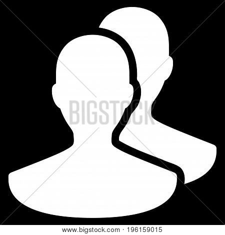Persons vector icon. Flat white symbol. Pictogram is isolated on a black background. Designed for web and software interfaces.