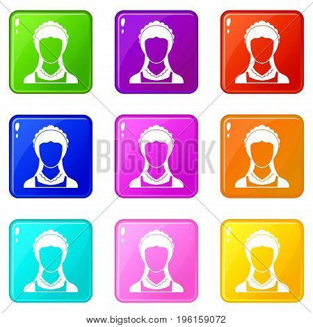 Cleaning household service maid icons of 9 color set isolated vector illustration