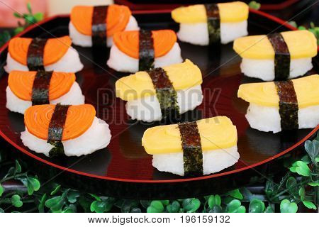 Mixed roll sushi set is delicious Japanese food