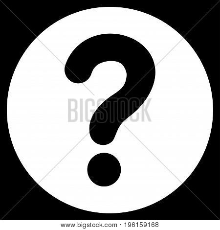 Query vector icon. Flat white symbol. Pictogram is isolated on a black background. Designed for web and software interfaces.