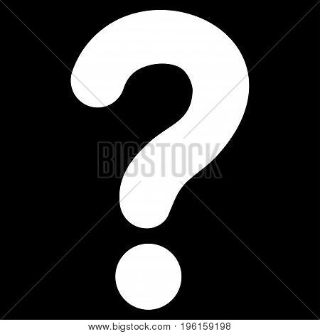 Question vector icon. Flat white symbol. Pictogram is isolated on a black background. Designed for web and software interfaces.