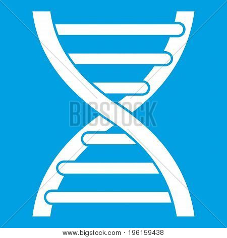 DNA icon white isolated on blue background vector illustration