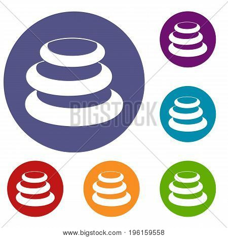 Stack of basalt balancing stones icons set in flat circle red, blue and green color for web