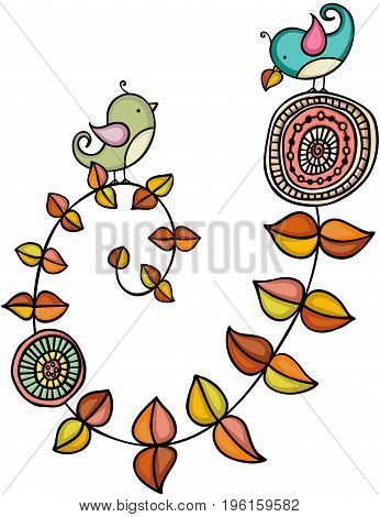Scalable vectorial image representing a autumn bird theme, isolated on white.