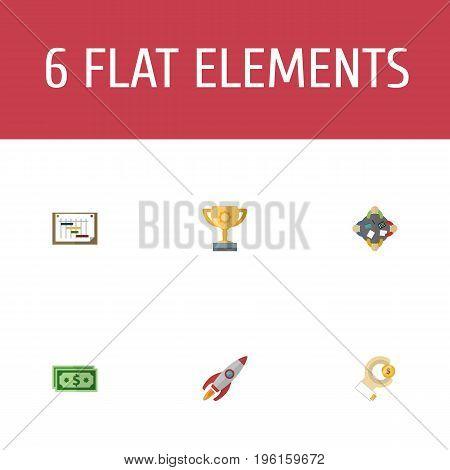 Flat Icons Discussion, Championship, Rocket And Other Vector Elements