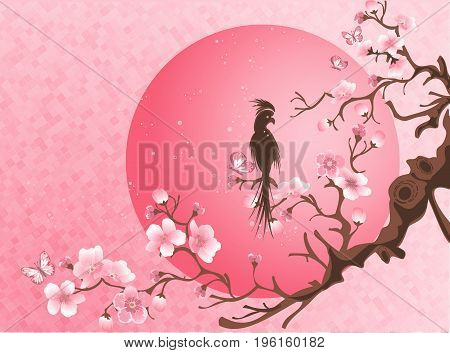 Cherry blossom tree with bird. Japanese style