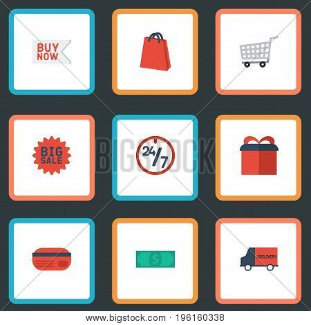 Flat Icons Present, Cash, Trolley And Other Vector Elements
