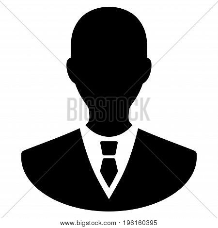 Manager vector icon. Flat black symbol. Pictogram is isolated on a white background. Designed for web and software interfaces.