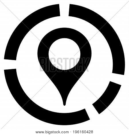 Map Marker Diagram vector icon. Flat black symbol. Pictogram is isolated on a white background. Designed for web and software interfaces.