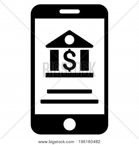Mobile Banking vector icon. Flat black symbol. Pictogram is isolated on a white background. Designed for web and software interfaces.