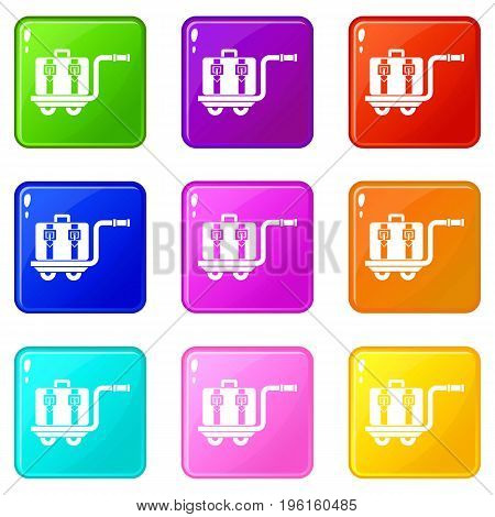 Baggage cart icons of 9 color set isolated vector illustration