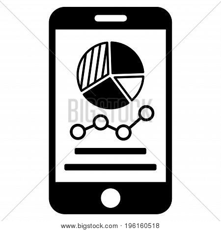 Mobile Graphs vector icon. Flat black symbol. Pictogram is isolated on a white background. Designed for web and software interfaces.