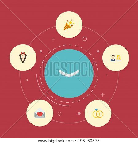 Flat Icons Engagement, Couple, Bridegroom Dress And Other Vector Elements