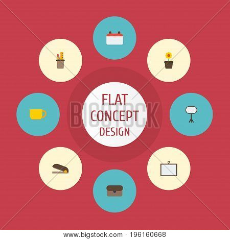 Flat Icons Pen Holder, Puncher, Plant Pot And Other Vector Elements