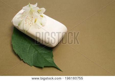 Soap and flower Alstromeria. Spa