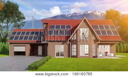 House with solar system and windmill as renewable energy concept in the Alps (3D Rendering)