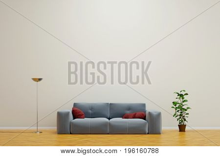 Sofa in living room with empty wall and contemporary interior decoration (3D Rendering)