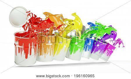 Colorful paint buckets splashing rainbow colors (3D Rendering)