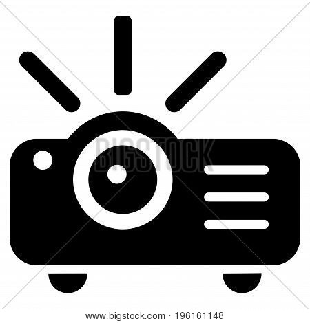 Projector vector icon. Flat black symbol. Pictogram is isolated on a white background. Designed for web and software interfaces.