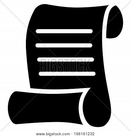 Script Roll vector icon. Flat black symbol. Pictogram is isolated on a white background. Designed for web and software interfaces.