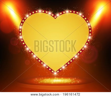 Retro Heart Banner On Stage With Spotlight Effect Background