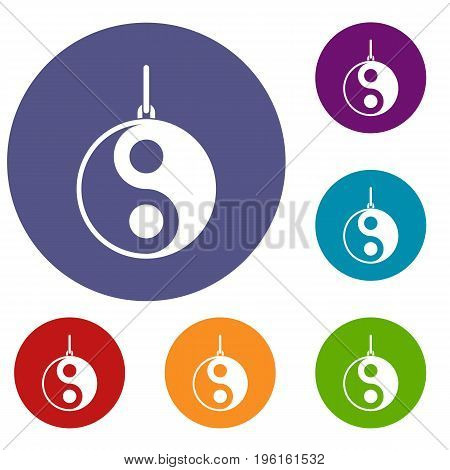 Yin Yang symbol icons set in flat circle red, blue and green color for web