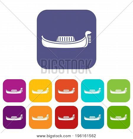 Venice gondola icons set vector illustration in flat style in colors red, blue, green, and other
