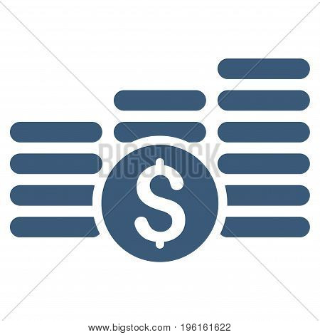 Finances vector icon. Flat blue symbol. Pictogram is isolated on a white background. Designed for web and software interfaces.