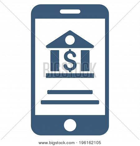 Mobile Banking vector icon. Flat blue symbol. Pictogram is isolated on a white background. Designed for web and software interfaces.