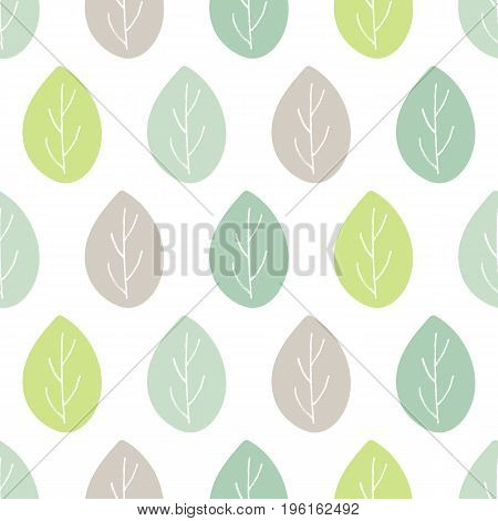 Seamless vector pattern. Green and gray leaves with hand drawn white twigs abstract background. Endless textile print illustration. Decorative design elements for fabric ornament