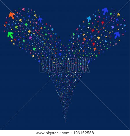 Arrow Direction salute stream. Vector illustration style is flat bright multicolored iconic arrow direction symbols on a blue background. Object fountain created from random pictographs.