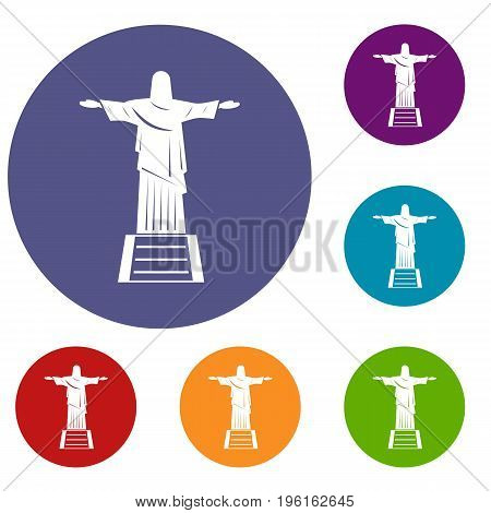 The Christ the Redeemer statue icons set in flat circle red, blue and green color for web