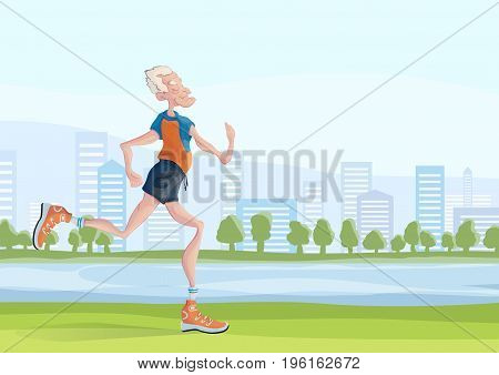 An elderly gray-haired man practice Jogging outdoors. Active lifestyle and sport activities in old age. Vector illustration with copy space for text.