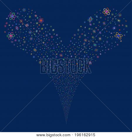 Atom explosive stream. Vector illustration style is flat bright multicolored iconic atom symbols on a blue background. Object fountain combined from random pictograms.